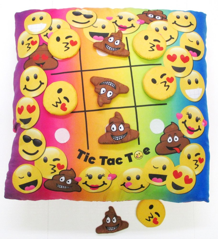 Tic Tac Toe Game Pillow the Velcro Emojis' Make for Hours of Fun!