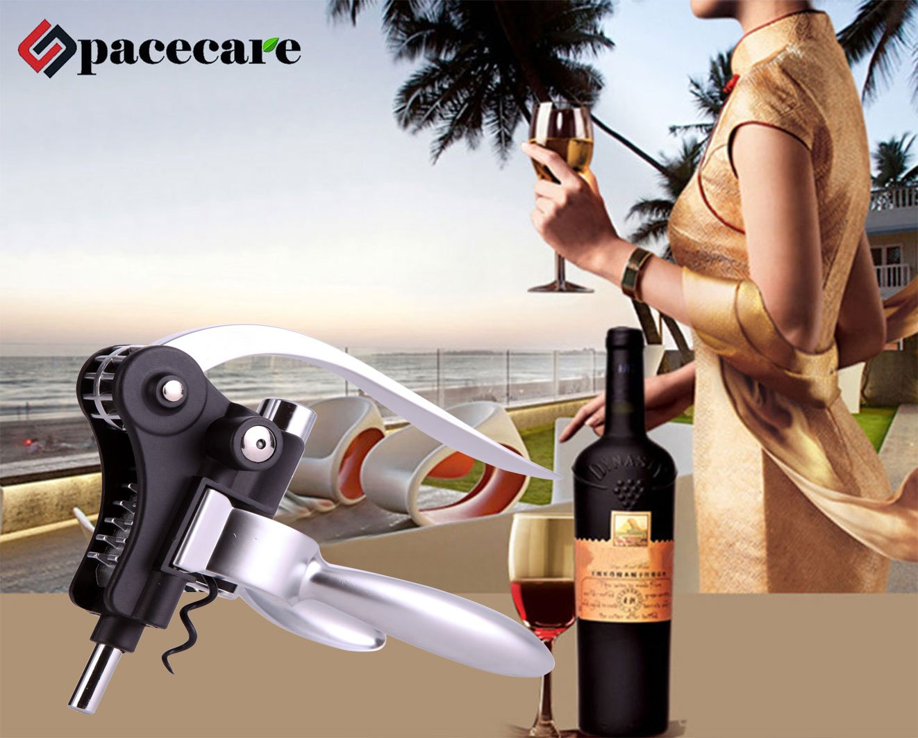 SPACECARE Wine Opener Kit with Chess,Red Wine Beer Bottle Opener Wing Corkscrew,Aerator, Thermometer, Stopper, and Accessories Set with Dark Cherry Wood Case - 10 Piece by SPACECARE (Image #6)