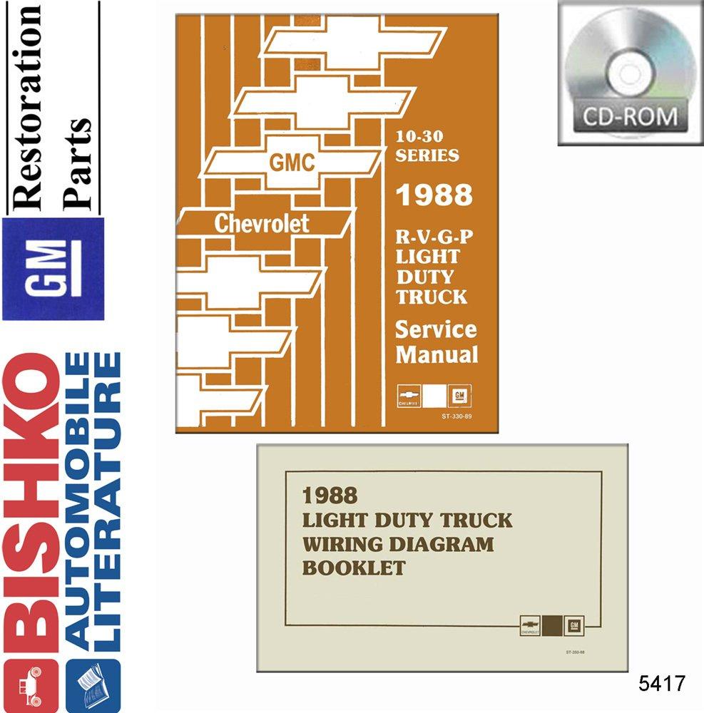Bishko Automotive Literature 1988 Chevy R V G P Truck Wiring Diagrams For Light Duty Trucks Shop Service Repair Manual Cd Engine Drivetrain
