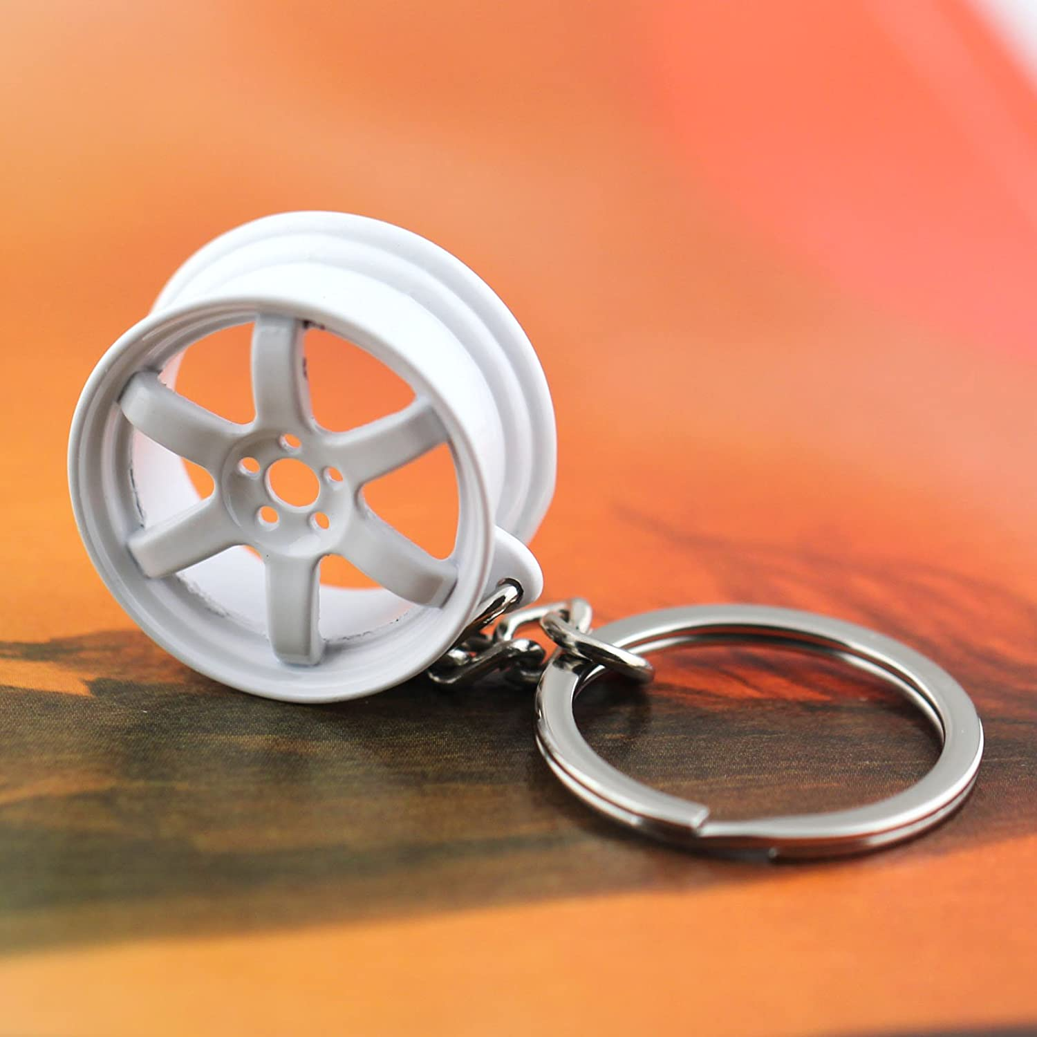 MB Black with Green maycom Creative Hot Auto Part Model Wheel Rim Tyre Keychain Keyring Key Chain Ring Keyfob