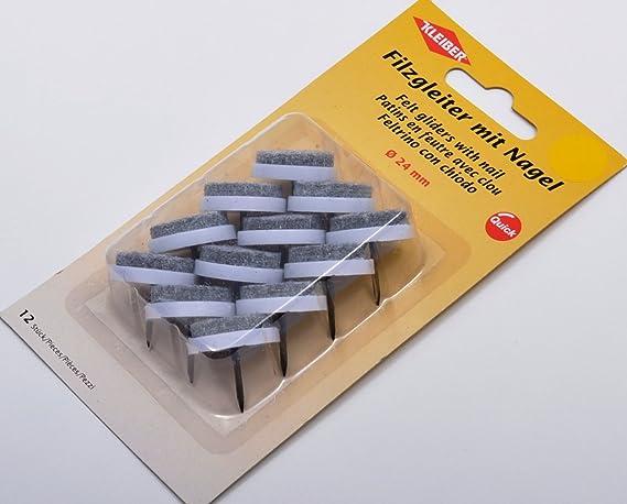 Kleiber Filzgleiter mit Nagel /Ø=24mm grau Polyester//Kunststoff 2,4 x 2,4 x 1,5 cm