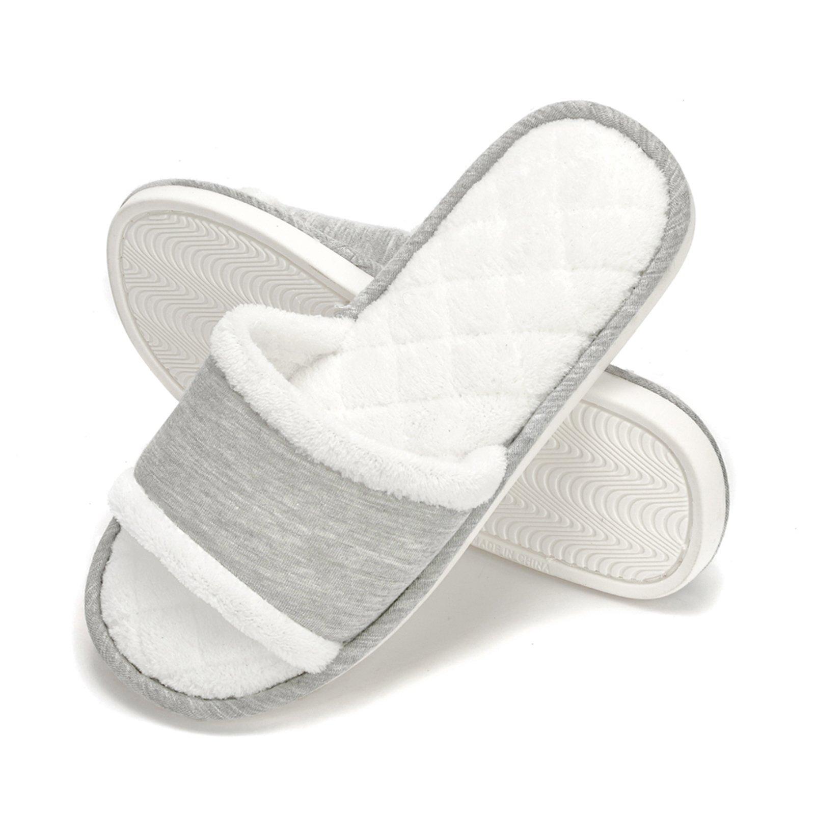 DRSLPAR Womens Comfort House Slippers Plush Memory Foam Open Toe Spa Slide Slippers Grey M