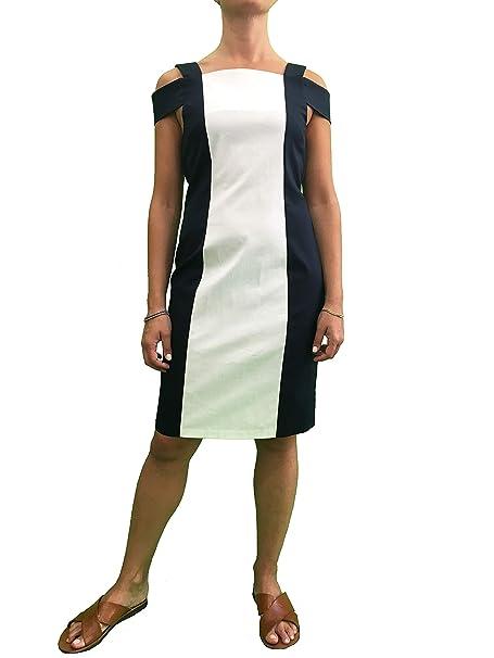 the best attitude 050e1 f6b21 Dambre Vestito Cotone Donna Tubino Bianco Blu Abito ...