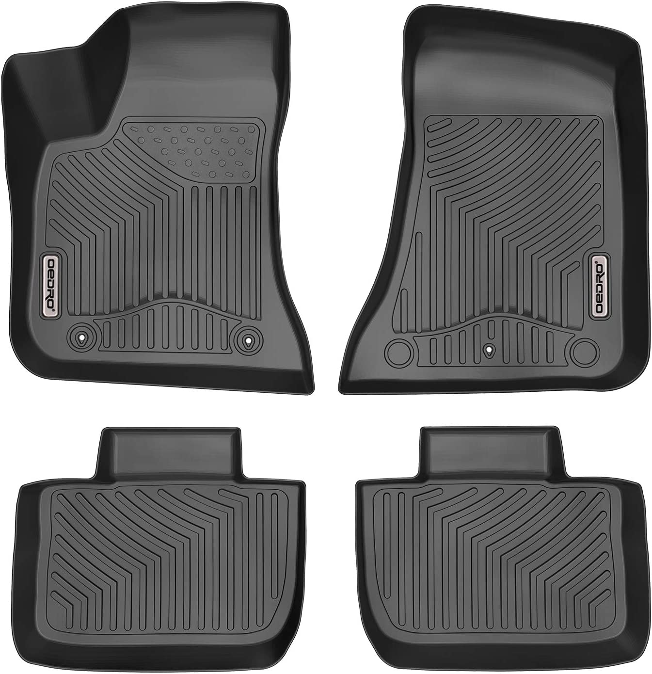 oEdRo Floor Mats for 2011-2019 Dodge Charger/Chrysler 300 RWD, Black TPE All Weather Front & 2nd Seat Custom Fit Liners