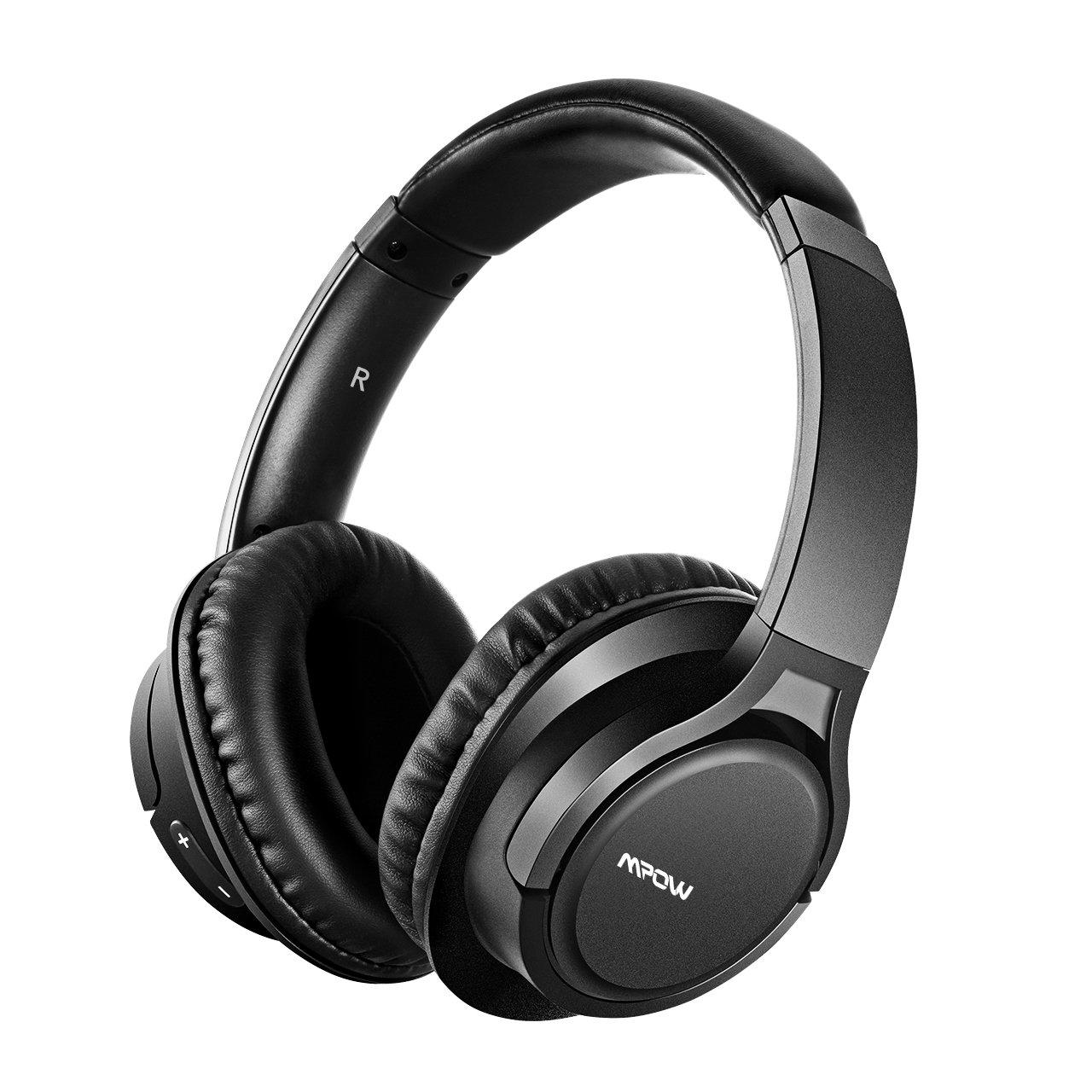 Mpow H7 Cascos Bluetooth, 1.2m Cable de Audio de 3.5mm, 13hrs de Reproduccion, 15hrs de Conversación, Auriculares de Diadema Inalámbrico con Micrófono, Cojines de Oído con Memoria y Proteína para Celular / Tablets / PC / TV