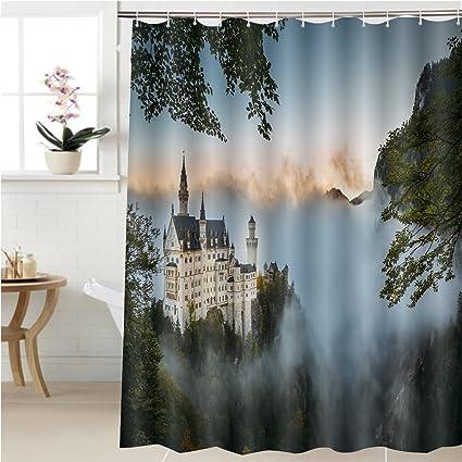 gzhihine cortina de ducha nuevo cisne piedra castillo en otoño accesorios de baño 40 x 72