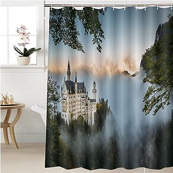 gzhihine cortina de ducha nuevo cisne piedra castillo en otoño accesorios de baño 40 x 72 cm: Amazon.es: Hogar