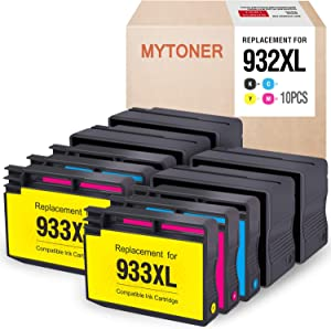 MYTONER Compatible Ink Cartridge Replacement for HP 932XL 932 Work with Officejet 6600, Officejet 6700 7612 7610 7510 7110 6100 Printer (4 Black, 2 Cyan, 2 Magenta, 2 Yellow, 10-Pack)