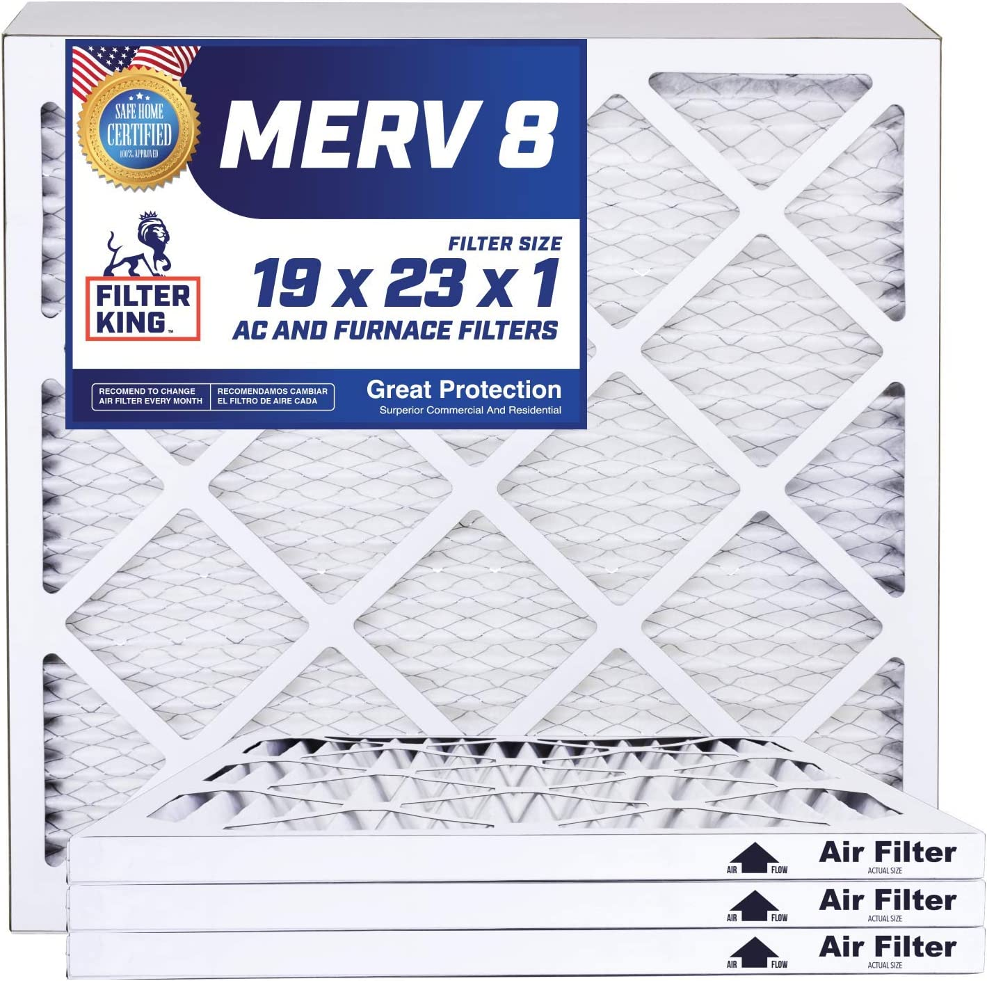 Filter King 19x23x1 Air Filters   4 Pack   MERV 8 HVAC Pleated AC Furnace Filters, Protection Against Mold and Pollen, Allergen Reduction, Increases Air Quality   Actual Size