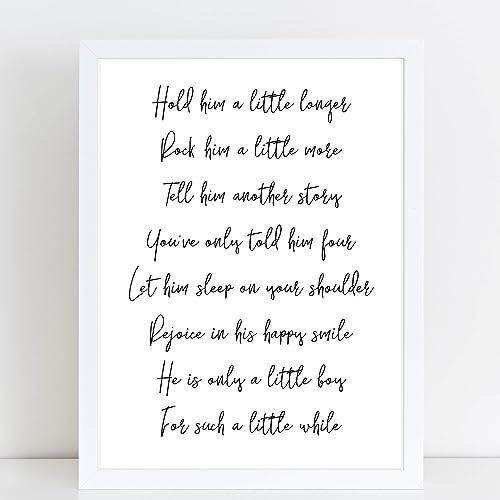 Hold Him Longer Poem for Baby Boy, Newborn Nursery Gift, New