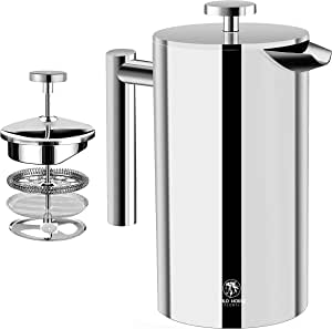 Wild Horse Global French Press Coffee Maker - 24oz (700mL) - Insulated Stainless Steel - Portable Thermal Coffee Makers for Home, Camping, Traveling (24Oz)