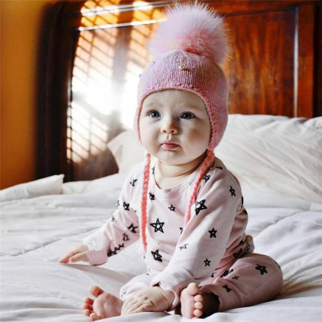 Xshuai Baby Hat for 0-9 Years Old Kids Newborn Toddler Cute Autumn Winter Baby Girl Boy Hair Ball Earbud Hat Child Print Knit Hats Cap