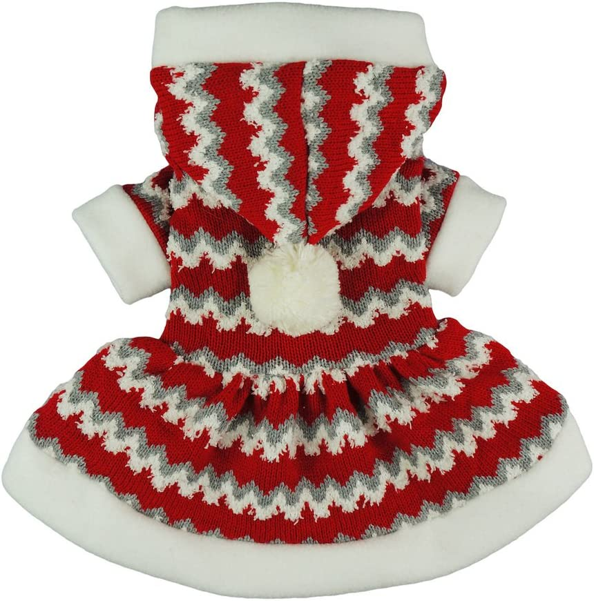 Fitwarm Christmas Party Knitted Dress for Dog Sweater Hooded Coat Pet Clothes Red