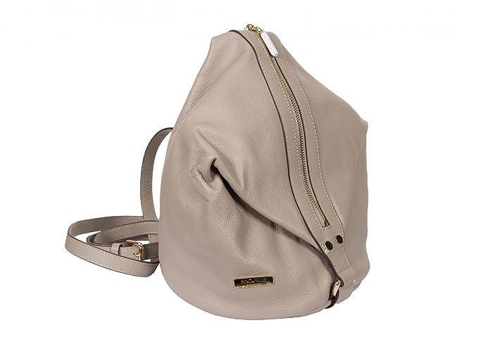 Rino & Pelle Cuero Auténtico Mochila Bolso Tipo Saco - gris, One Size