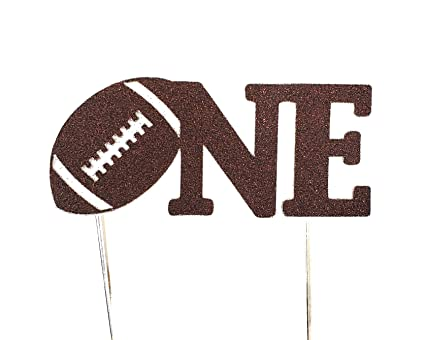 Cms Design Studio Handmade 1st Birthday Cake Topper One With Football Double Sided Brown Glitter Stock