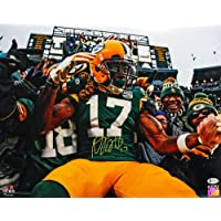 $95 » Davante Adams Autographed Green Bay Packers 16x20 Lambeau Leap Photo - Beckett W Auth Yellow