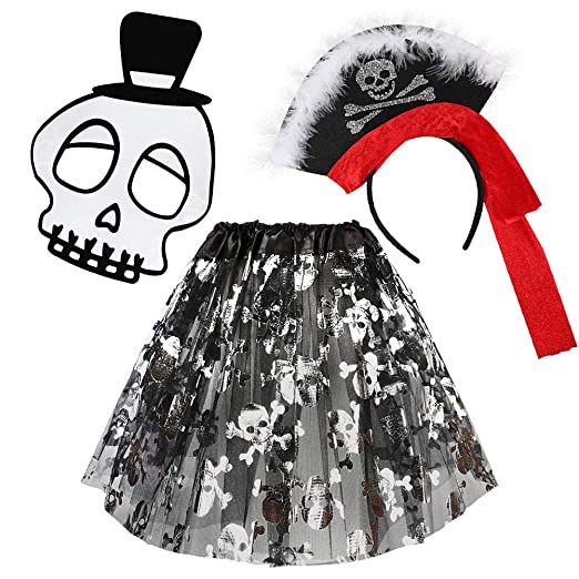 Amazon.com: VAMEI Girls Halloween Costumes Crossbones Tutu Skirt Skull Mask Fancy Headband Party Favors Pirate Costume Girl: Toys & Games