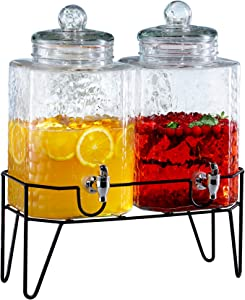 Style Setter 210266-GB 1.5 Gallon Each Glass Beverage Drink Dispensers with Metal Stand (Set of 2), 9