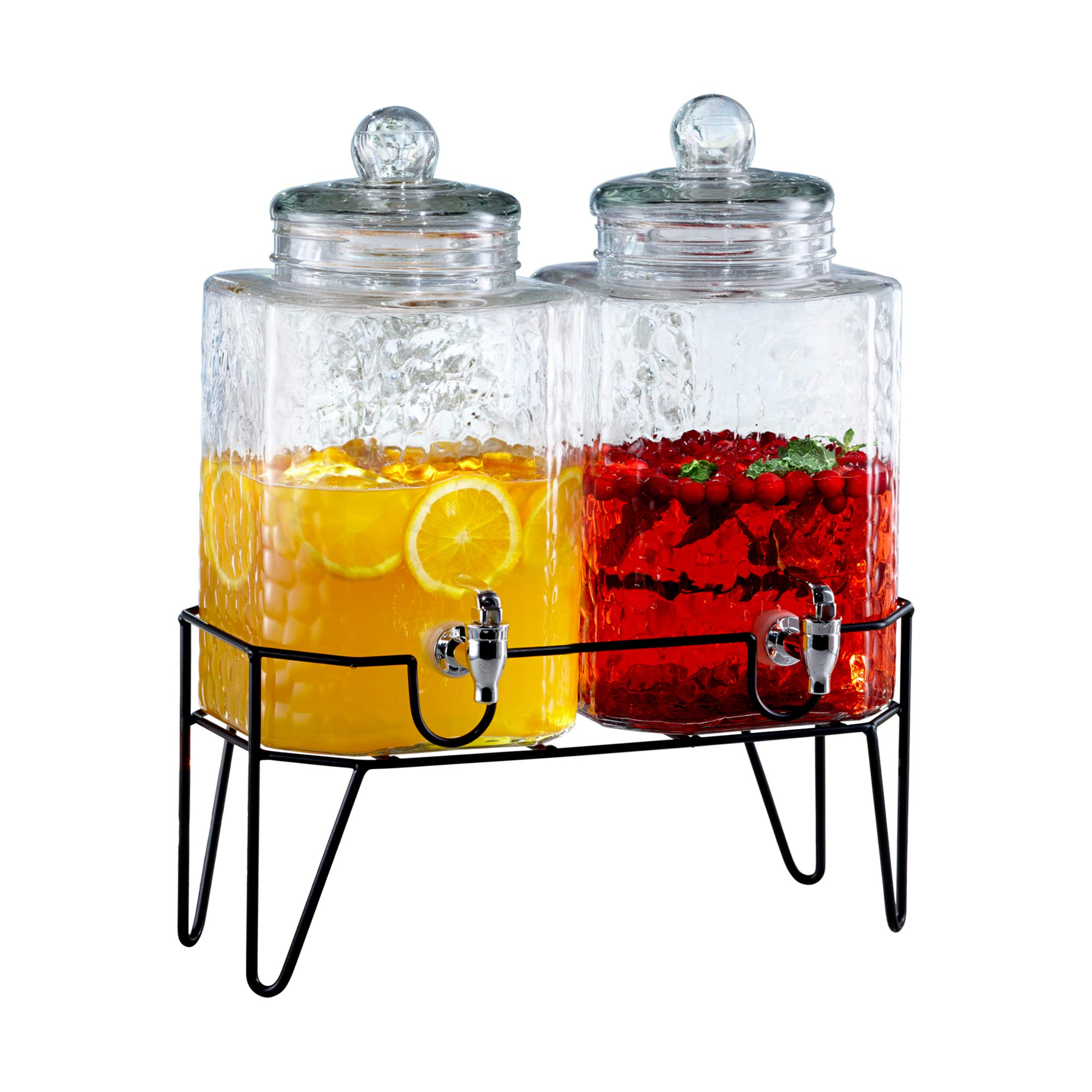 Style Setter Hamburg 210266-GB 1.5 Gallon Each Glass Beverage Drink Dispensers with Metal Stand (Set of 2), 8.2 x 16.8'', Clear