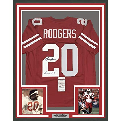 d7d18138185 Framed Autographed/Signed Johnny Rodgers Heisman 72 33x42 Nebraska  Cornhuskers Red Football Jersey JSA COA at Amazon's Sports Collectibles  Store