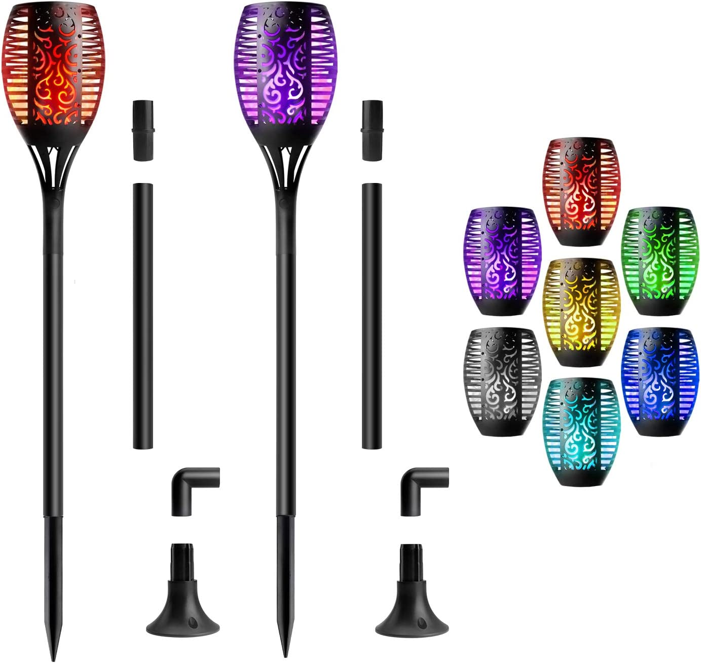 Beinhome 2 Pack Solar Torch Light Garden Flickering Flame Lights 7 Colors Changing Landscape Decoration Lighting for Patio Yard Lawn Walkway Pathway Camping Garden