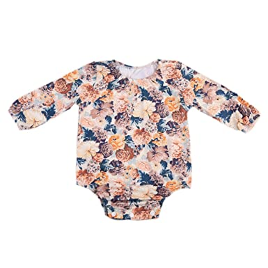 00c9df3ab678 Amazon.com  Toddler Infant Baby Girls Long Sleeve Lace Floral Romper ...