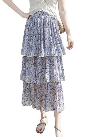 Flygo Falda Bohemia Floral de Cintura Alta para Mujer, Falda ...