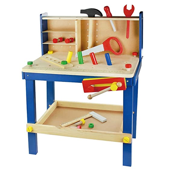Leo & Emma Spielwerkbank aus Holz bunt