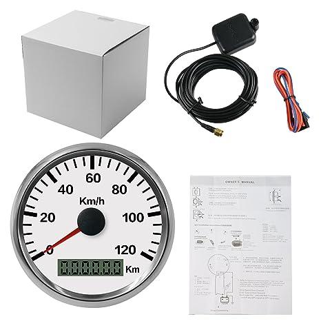 Autool - Velocímetro de 85 mm impermeable con GPS inoxidable, 0 a 120 km/