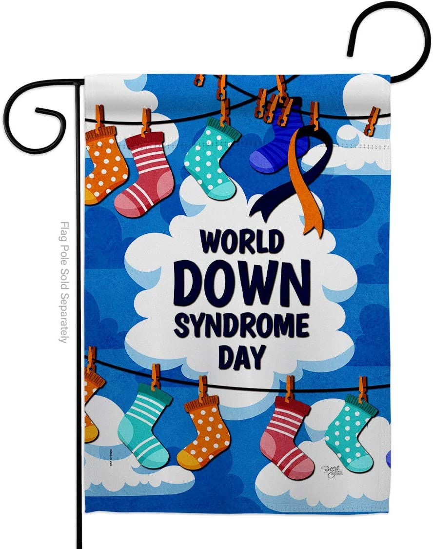 Breeze Decor World Down Syndrome Day Garden Flag Support Awareness Inspirational Survivor Ribbon Prevention Cancer Autism Breast BLM House Banner Small Yard Gift Double-Sided, Made in USA
