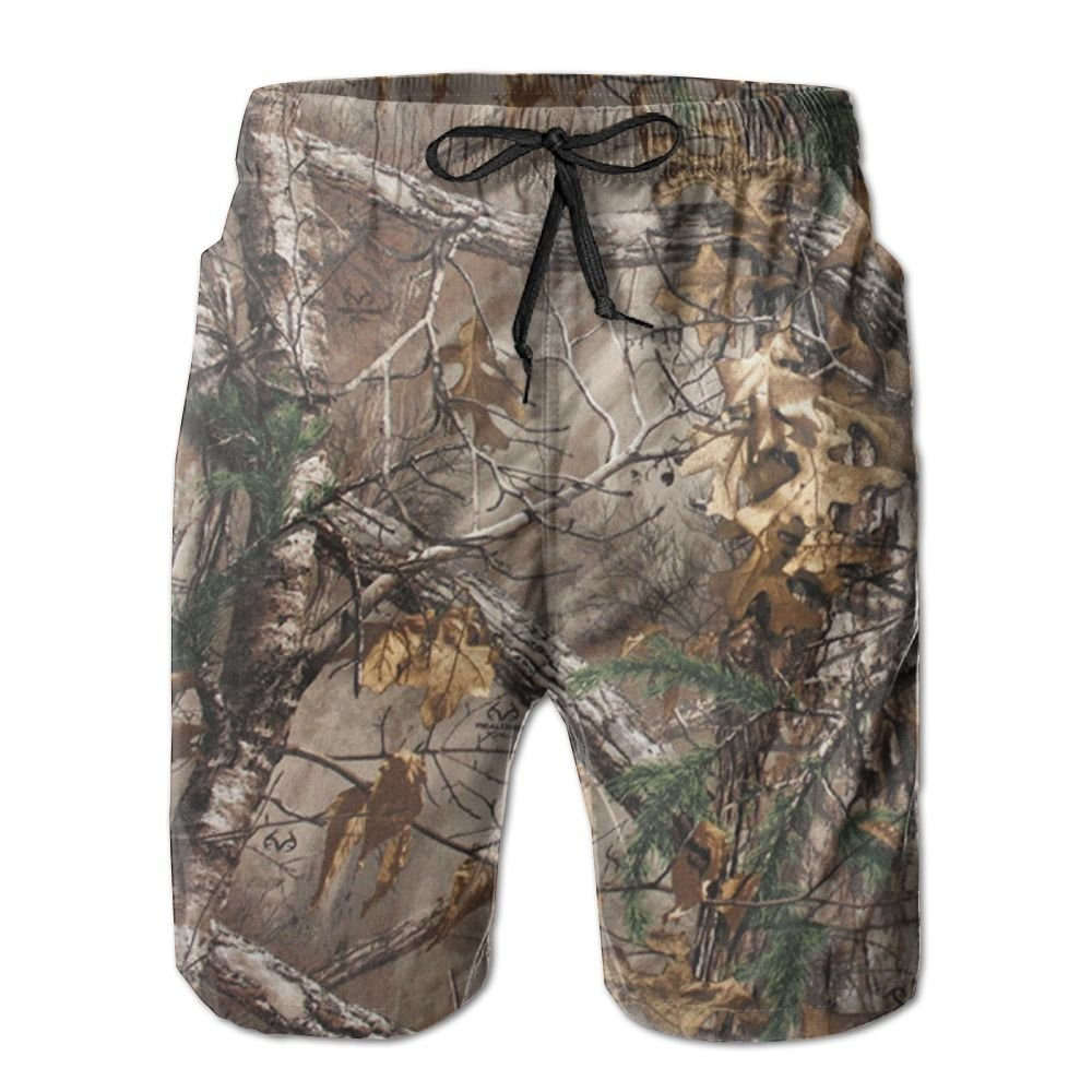 Lalamin Camo Camouflage Tree Beach Shorts for Men Quick Dry Board Shorts with Pockets