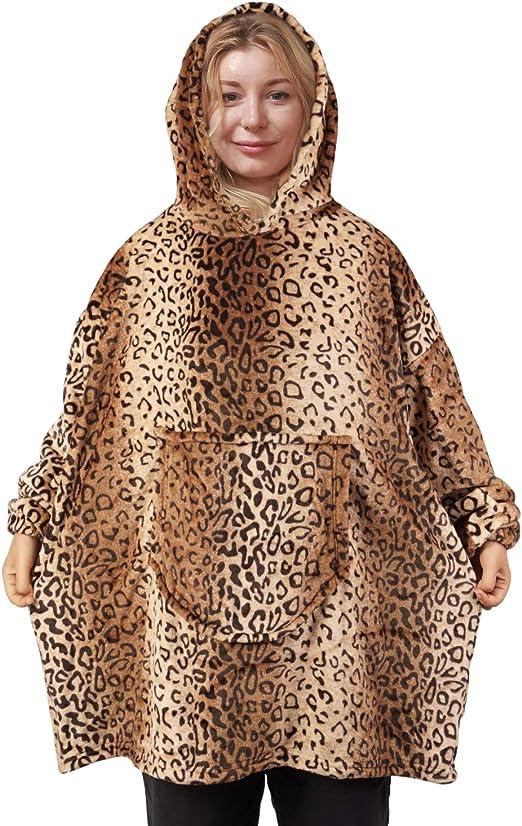 softan Flannel Fleece Hoodie Blanket Sweatshirt Wearable Blanket Super Soft Warm Cozy Giant Hoody Large Front Pocket One Size for All,Festival