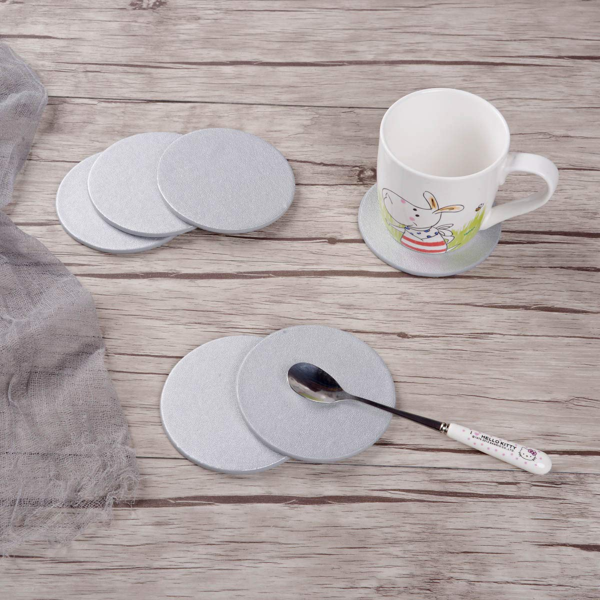 Leather Coasters Set of 6 with Holder,Round Cup Mat Pad for Home and Kitchen Use Silver
