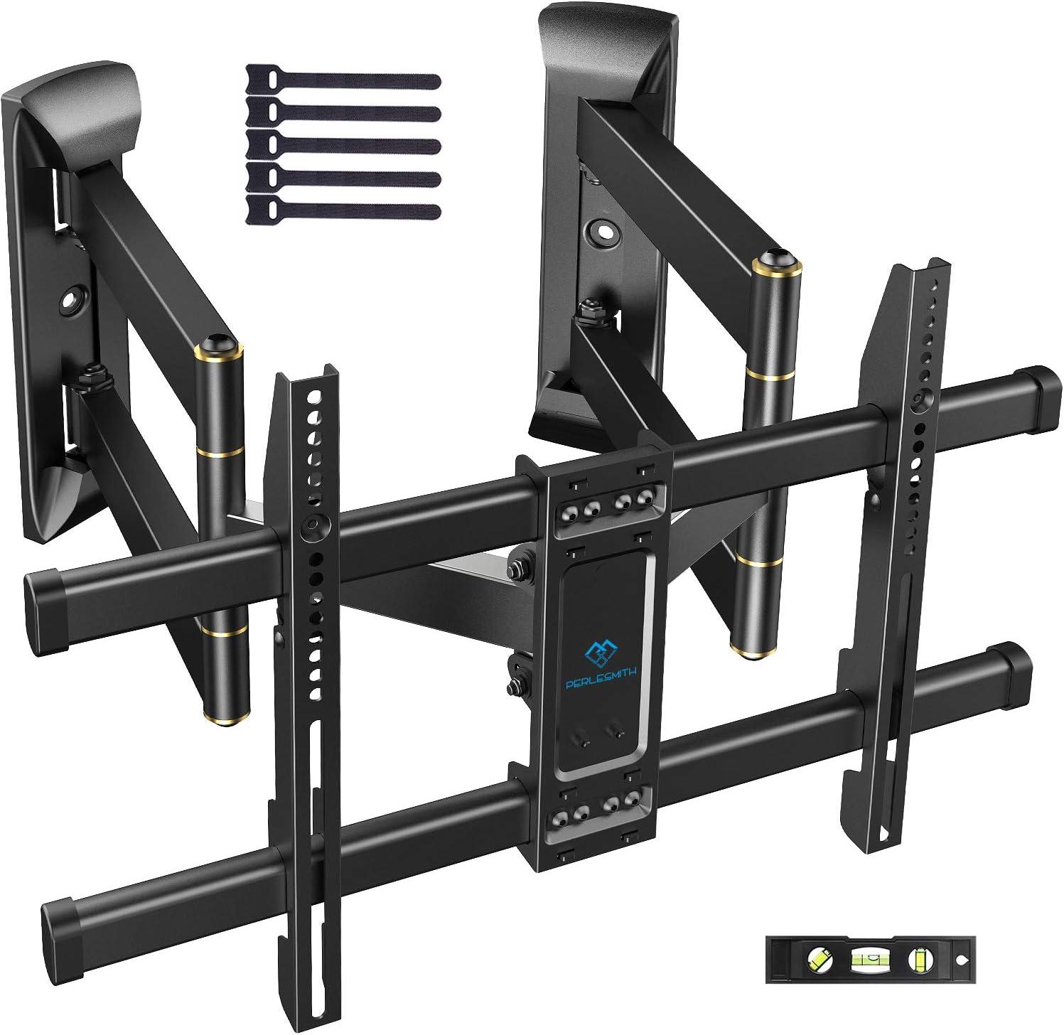 Corner TV Wall Mount Full Motion- Corner TV Bracket Fits 37-65 Inch LED, LCD 4K Flat Curved Screen TVs- Hold up to 99 lbs Max VESA 600x400 W/Tilt, Swivel and Level