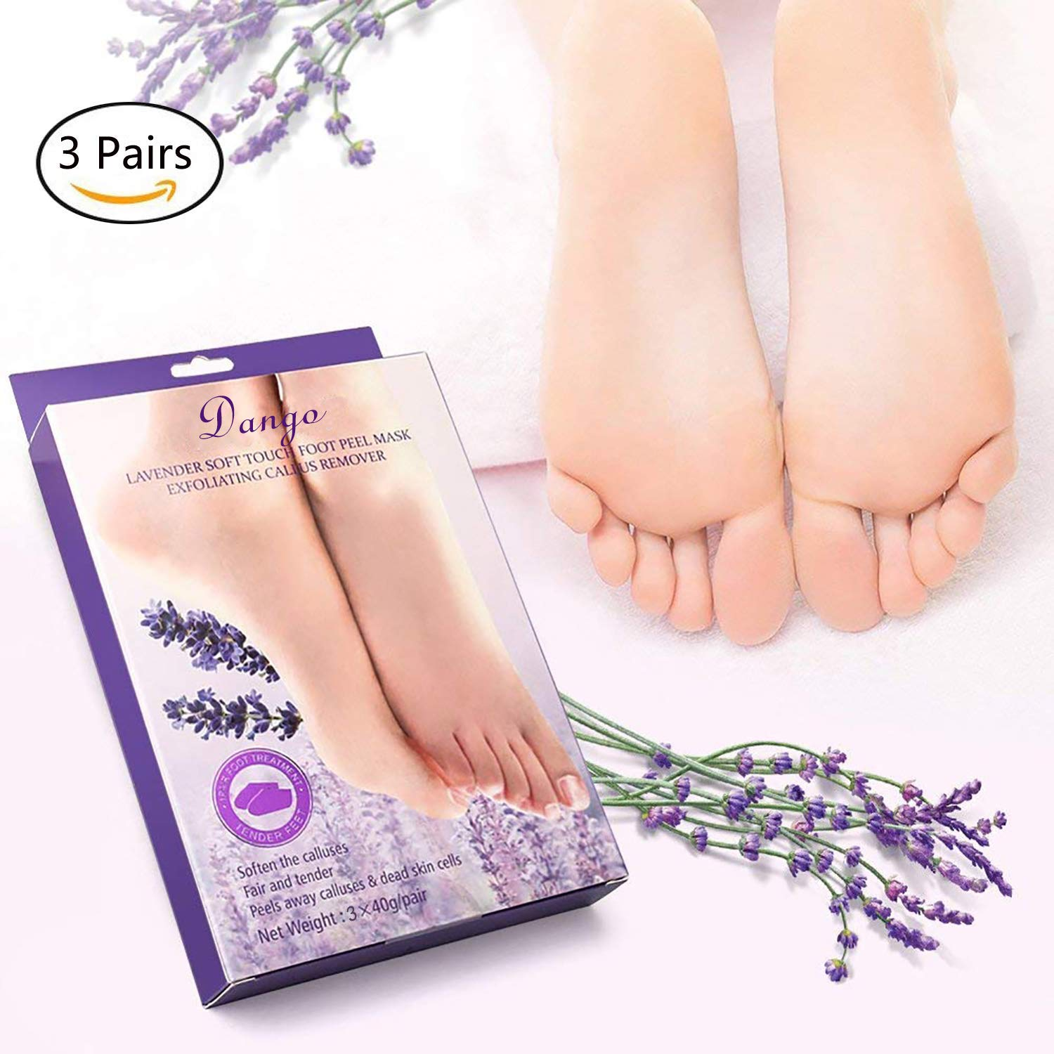 3 Pairs Foot Peel Mask for Soft Feet Baby Foot Peeling Mask Exfoliating Booties for Peeling Off Calluses & Dead Skin, Treatment With Natural Lavender Dango
