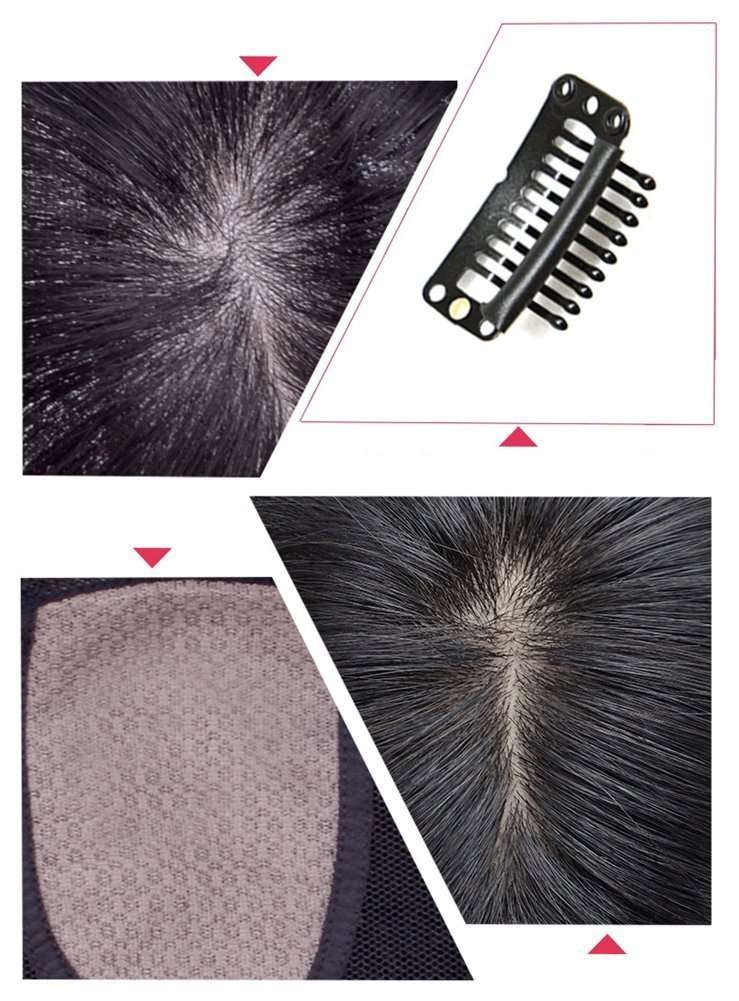 100% Remy Human hair Silk Base Human Hair Toppers for Thinning Hair Clip in Hairpiece for Women (6inch natural black) (10'', chestnut brown) by YuXian Beauty (Image #3)