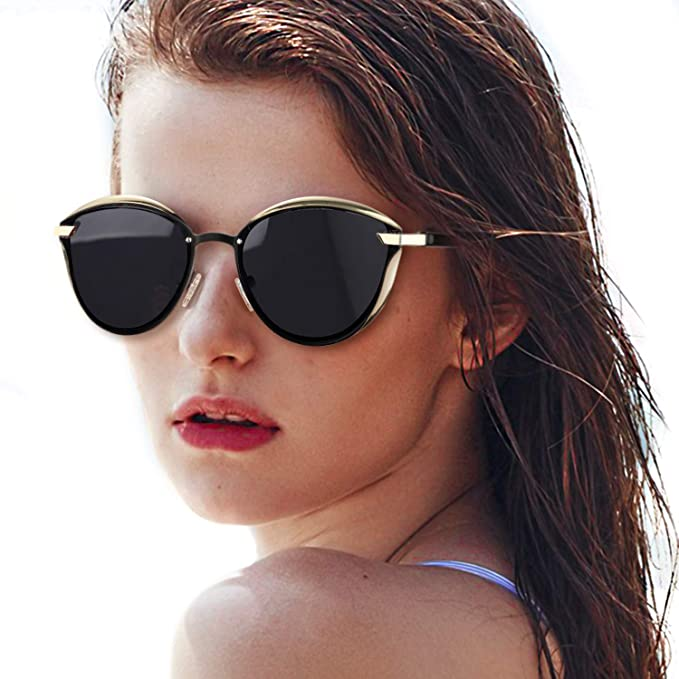 5d67bebac1 LVIOE Women s Vintage Cat Eye Sunglasses Metal Frame Colored Polarized Lens  UV400 Protection