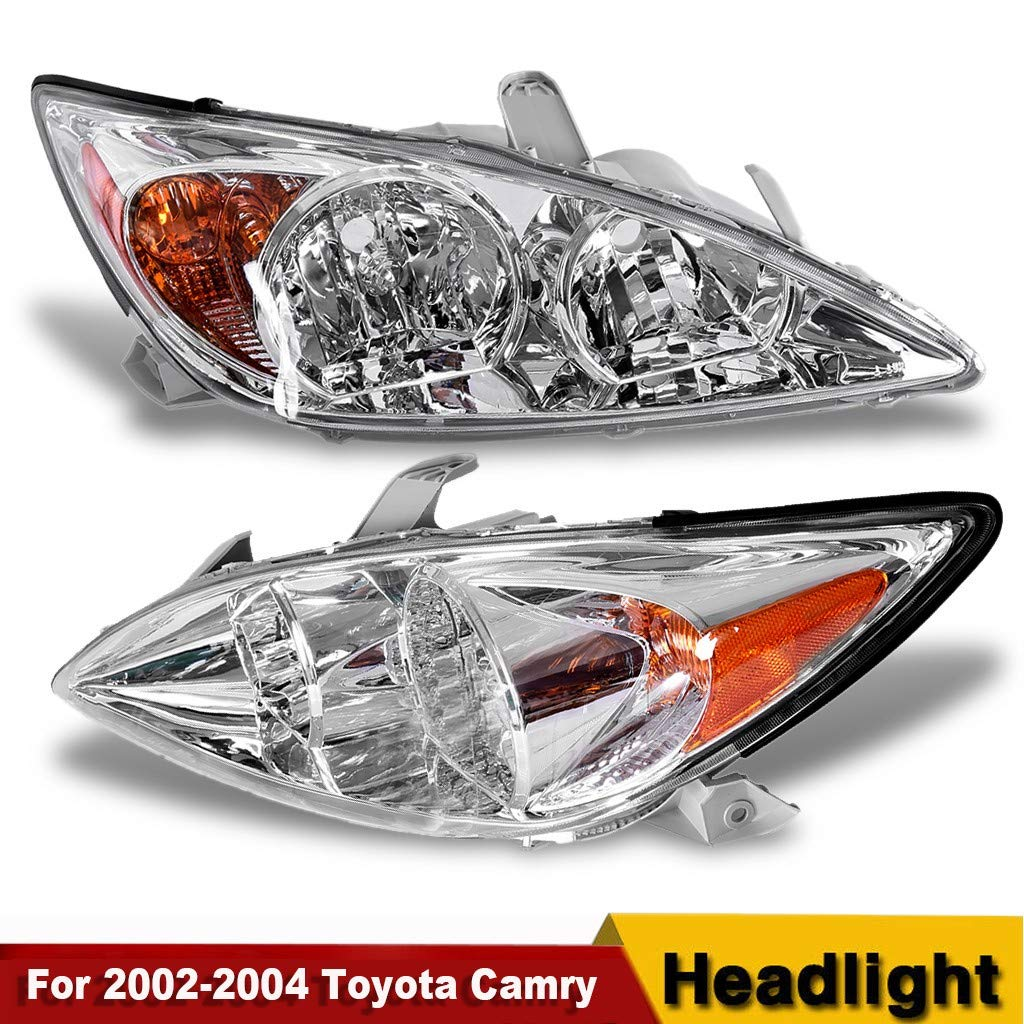 Arrowsy Headlights/Lamp Pair for 2002-2004 Toyota Camry Chrome Housing Amber Corner Set- US Stock by Arrowsy