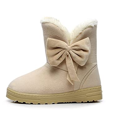 f0bb00e0348 DUSISHIDAN Women Winter Snow Boots Warm Boots with Bow Size 4.5 5.5 7.5 9