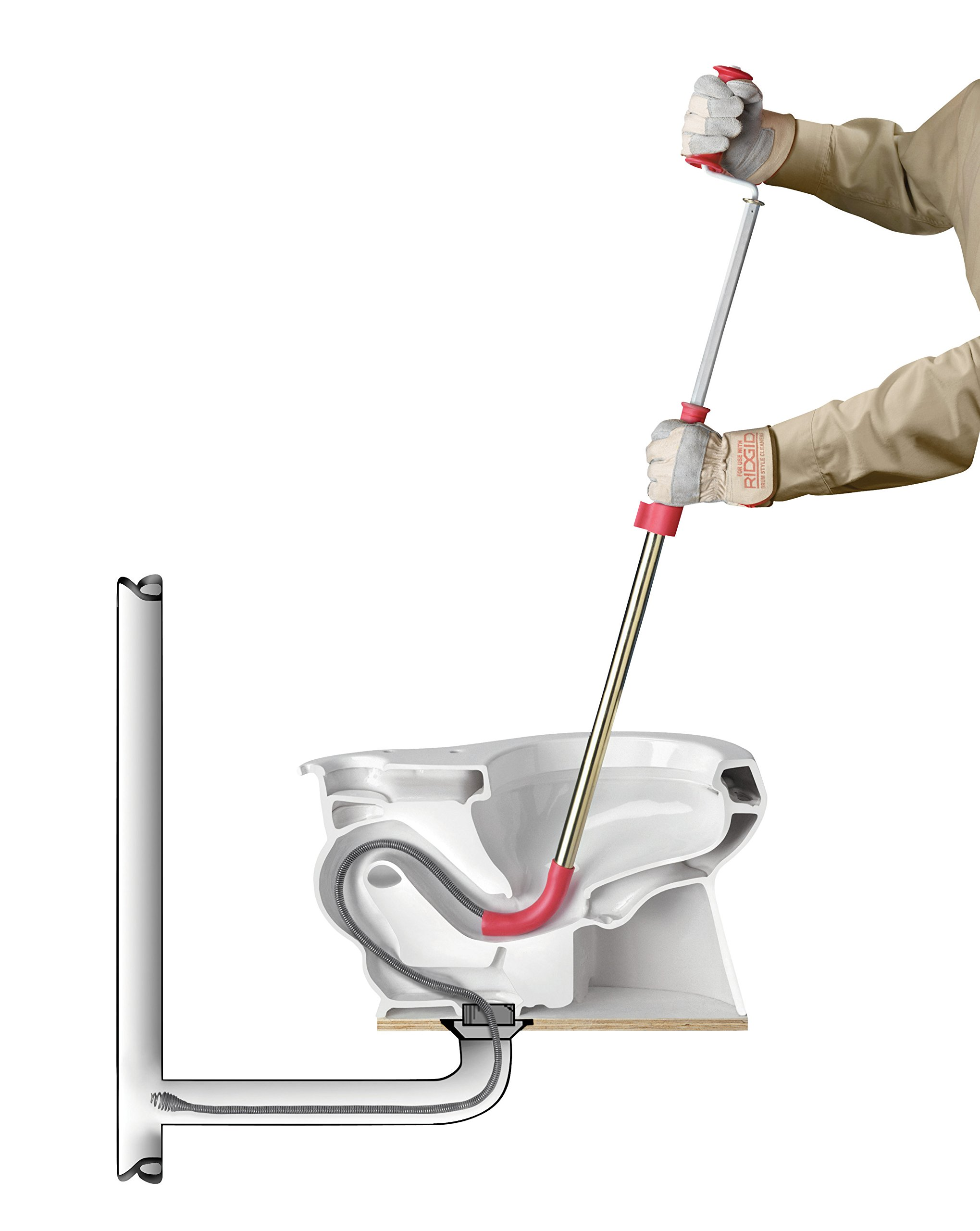 RIDGID 59797 K-6 Toilet Auger, 6-Foot Toilet Auger Snake with Bulb Head to Clear Clogged Toilets by Ridgid
