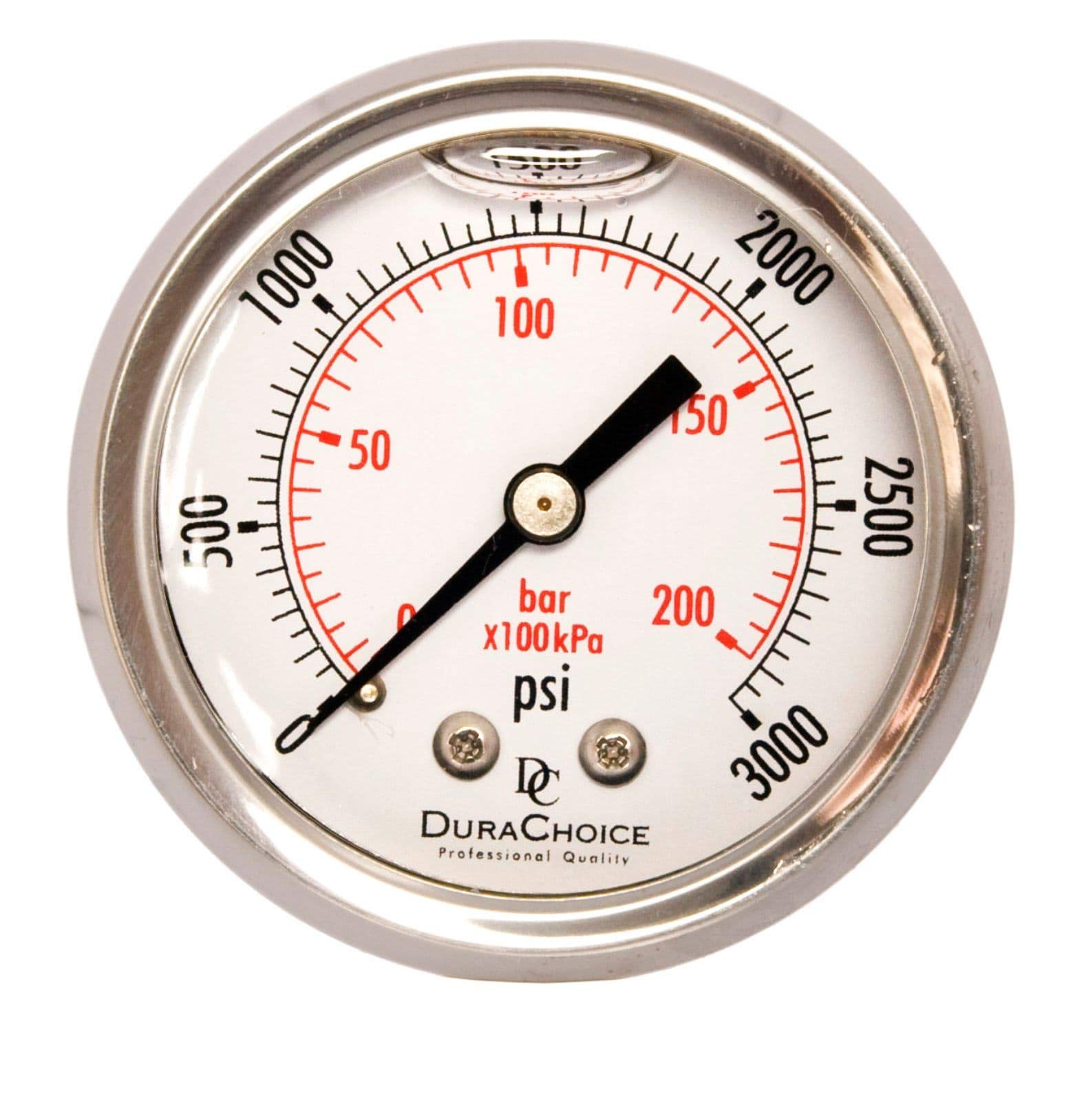 2'' Liquid Filled Pressure Gauges - Stainless Steel Case, Brass, 1/4'' NPT, Center Back Mount Connection, 0-3000PSI by DuraChoice