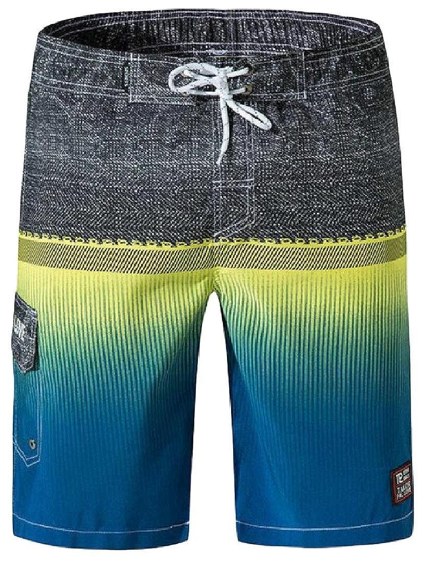 Cromoncent Mens Fashion Board Beach Print Drawstring Elastic Waist Shorts