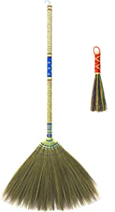 Natural Grass Bamboo Wood Broom 100% Handmade in Thailand Traditional Asia Broomcorn Sweeper Woven Hand Grip + Whisk Duster (Worth $4.99)