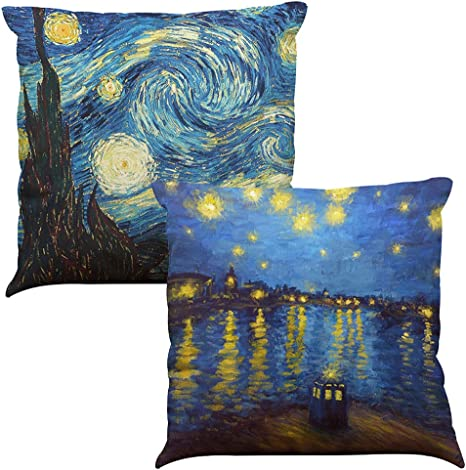 Amazon Com Starry Night By Vincent Van Gogh Throw Pillow Cover Home Decorative Cushion Case Oil Painting Art Pillow Case With Zipper Sofa Bed Car Square 18 X 18 Set Of Two Home