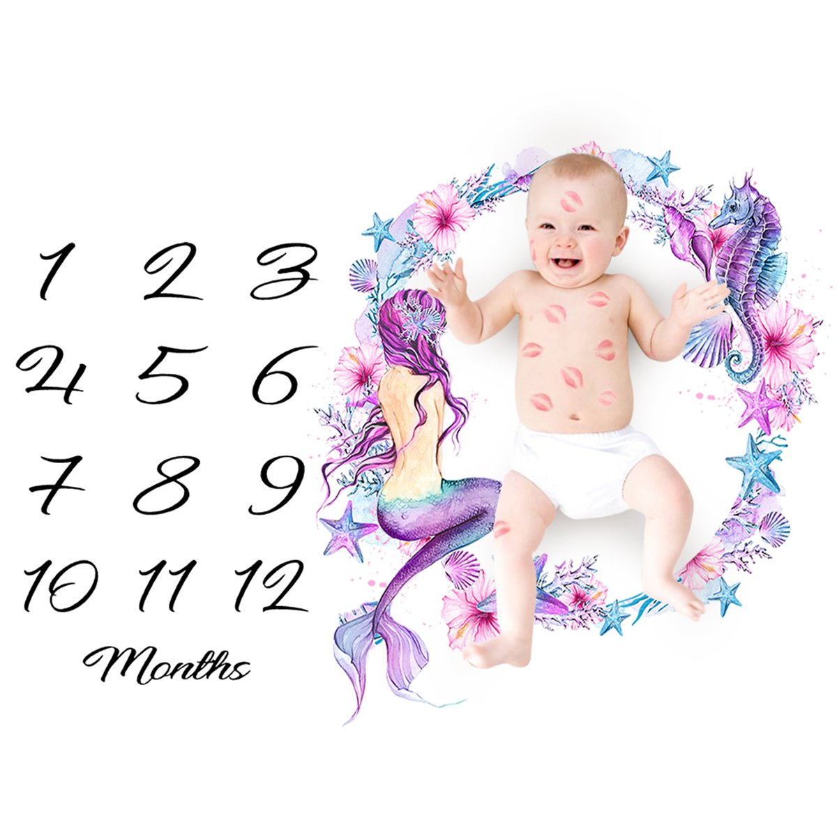 Baby Monthly Milestone Blanket,Newborn Infant Baby Boy Girl Monthly Milestone Blanket Calendar for Photopraghy Photo Props Backdrop Background Cloth (Mermaid)