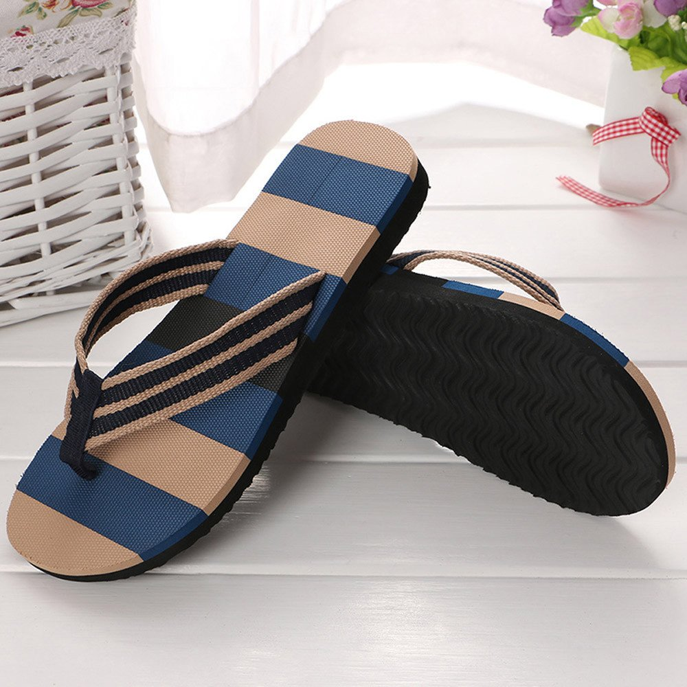 Corriee Mens Fashion Striped Printed Indoor Outdoor Flip Flops Breathable Anti-Slip Shoes Male Summer Slippers Blue by Corriee (Image #3)