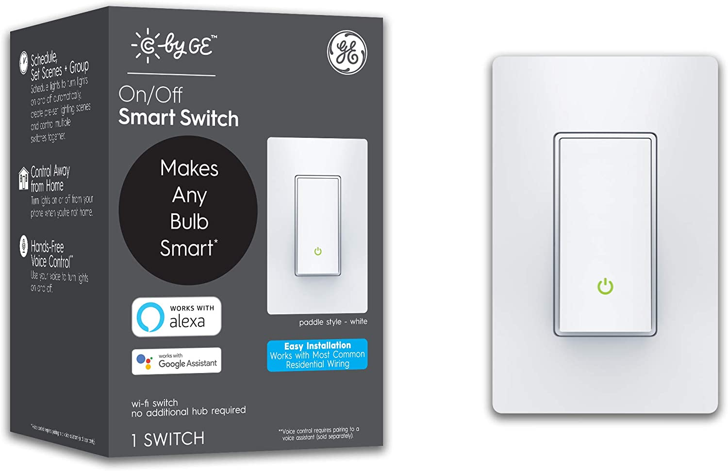 C by GE On/Off 3-Wire Smart Switch - Works with Alexa + Google Home Without Hub, Paddle Style Smart Switch, Single-Pole/3-Way Replacement, White
