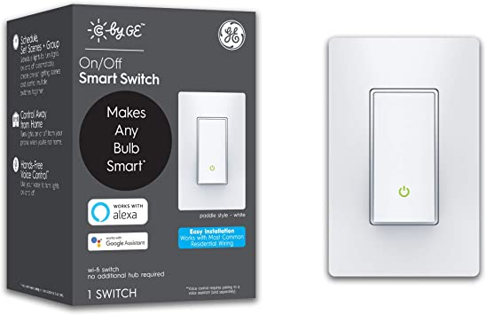C By Ge 3 Wire On Off Paddle Style Smart Switch Alexa And Google Home Compatible Without Hub Smart Switch No Neutral Required Bluetooth Wifi Switch Single Pole 3 Way Smart Switch White 1 Pack Amazon Com