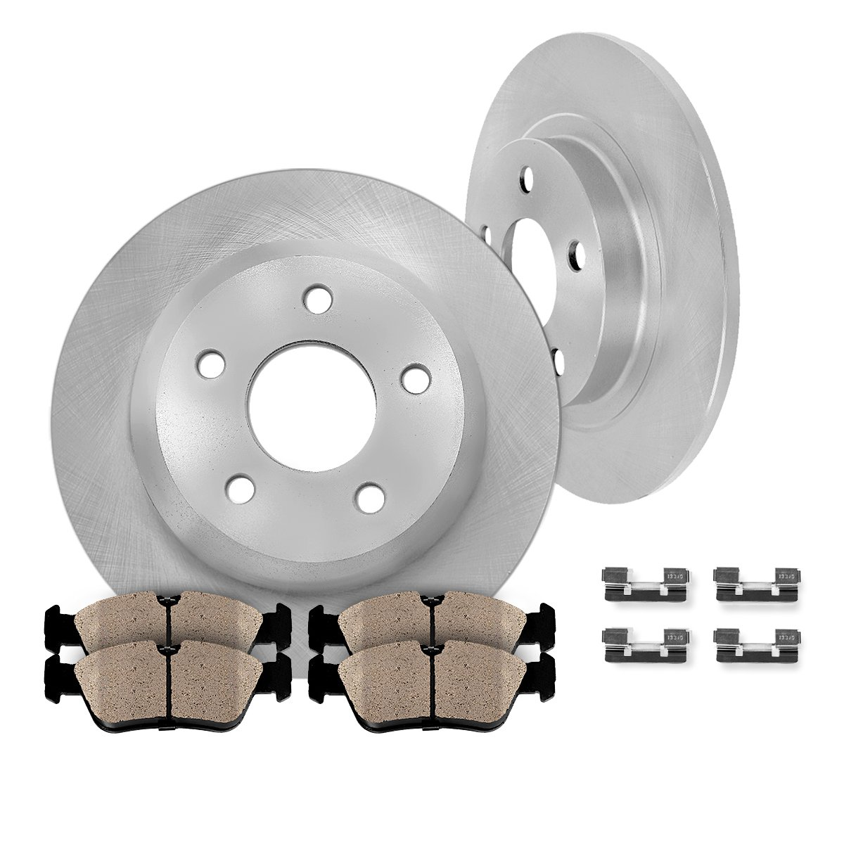 REAR 291.3 mm Premium OE 5 Lug [2] Brake Disc Rotors + [4] Ceramic Brake Pads + Clips
