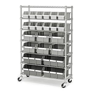 Seville Classics Commercial 7-Tier Platinum/Gray NSF 22-Bin Rack Storage System
